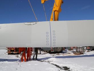 国内首例分段式风电叶片完成挂机测试
