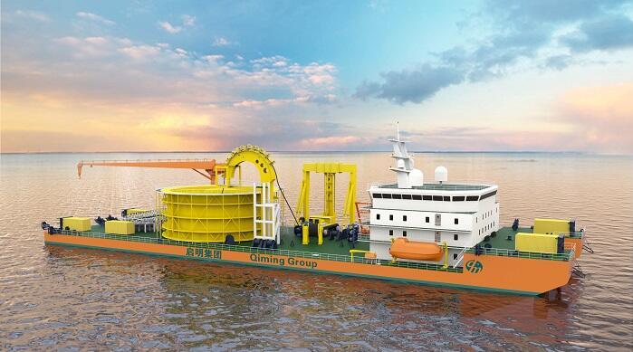 国内首制5000吨新型海底电缆施工船出坞